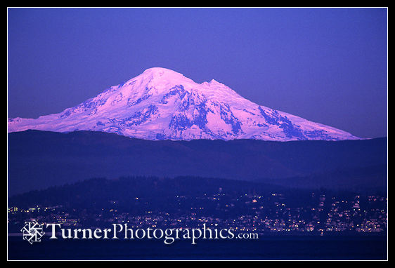 Mt. Baker at dusk by moonlight