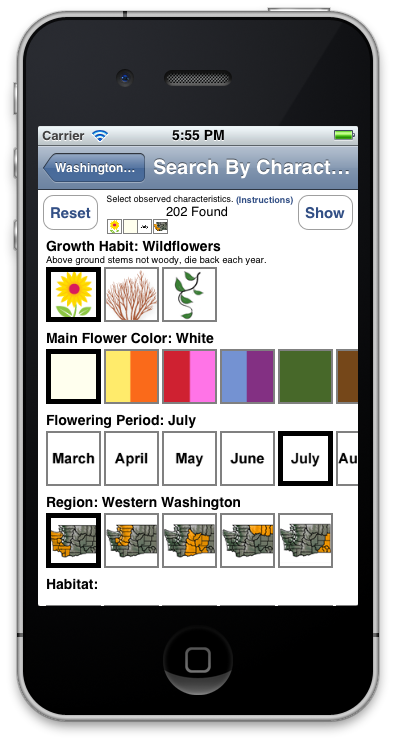 Washington Wildflowers search screen