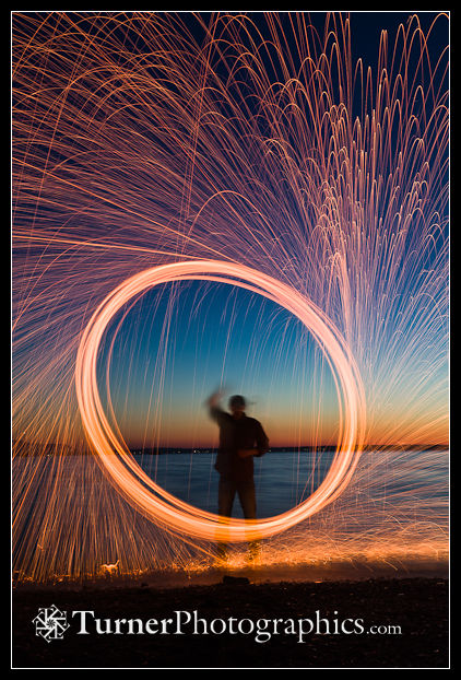 Spark spiral, with horizon line placed low in the frame