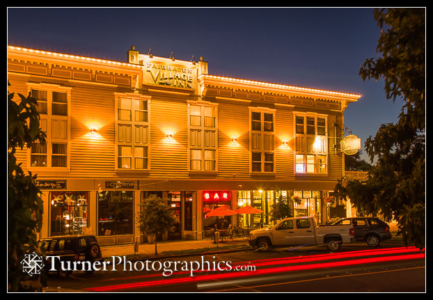 Fairhaven Village Inn exterior, night