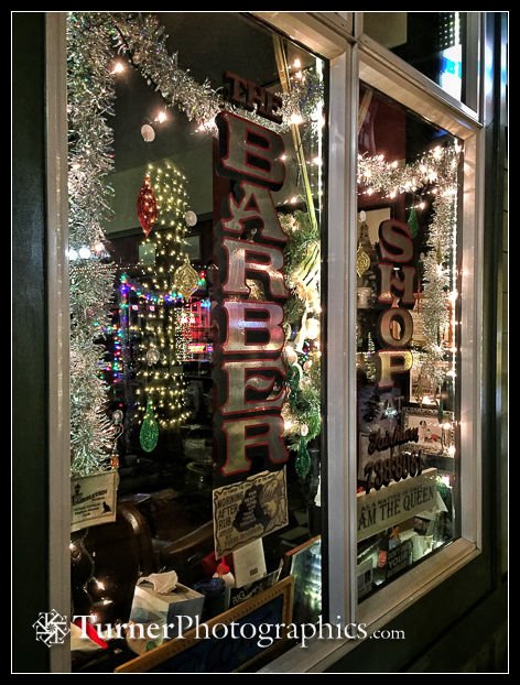 Holiday lights in the window of Fairhaven Barber Shop, Bellingham, WA. © 2017 Mark Turner