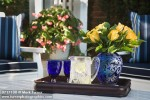 0717100 Yellow Roses in blue vase on tray w/ pitcher & goblets. Dudman, Oklahoma City, OK. © Mark Turner