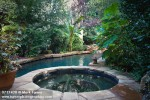 0717420 Spa & naturalistic swimming pool bordered by foliage plants. Blackwood, Oklahoma City, OK. © Mark Turner