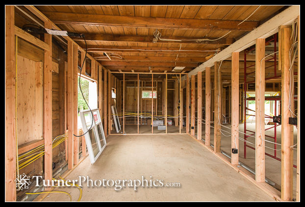 Reception and sales room with framing complete