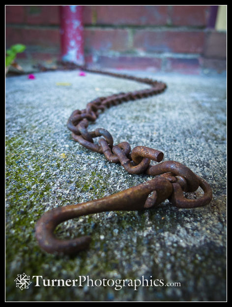 Chain on sidewalk