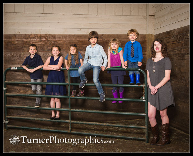Davis grandchildren in the barn