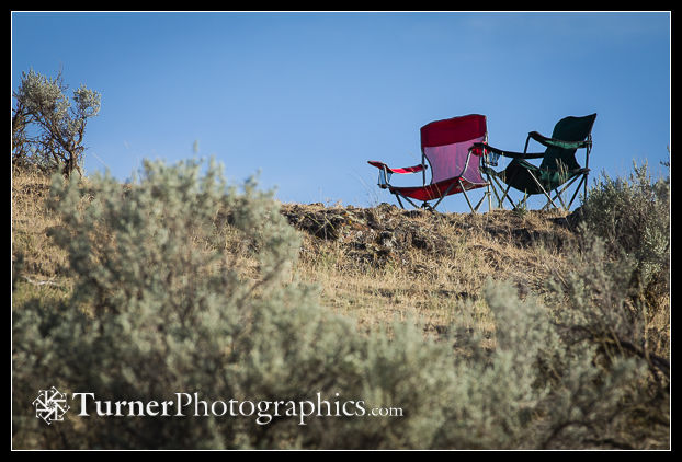 Camp chairs among the sagebrush
